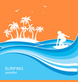 surfer and sea waves backgroundsummer nature vector image vector image
