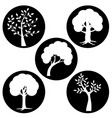 tree silhouettes in black circles vector image