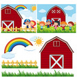 two farm scenes with red barn and happy children vector image vector image