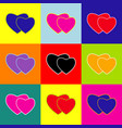 two hearts sign pop-art style colorful vector image vector image