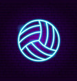 volleyball neon sign vector image vector image