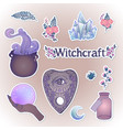 witchcraft set ouija planchette cauldron vector image