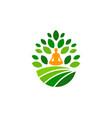 yoga farm logo icon design vector image