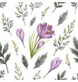 watercolor seamless pattern with flowers vector image
