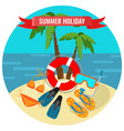 summer holidays poster with tropical island and vector image
