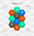 activity icons line style set with hockey vector image