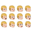 Big set of cute little boy faces showing different vector image vector image