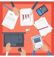 Business workplace with hand notebook tablet vector image
