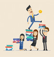 businessman careerist go upstair using colleagues vector image vector image