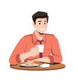 businessman drinks coffee and eats snacks isolated vector image