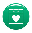 calendar valentine day icon green vector image