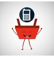 cartoon basket shopping calculator vector image vector image
