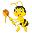 cartoon bee holding honey vector image vector image
