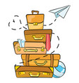 cartoon luggage for traveling vector image