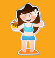 cheerful girl in a bathing suit with a piece of vector image