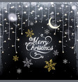 christmas background with glistening garland and vector image vector image
