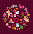circle valentines day gifts flowers and rings vector image vector image