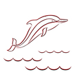 Contour of a dolphin in red and black colors vector image