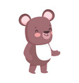 cute brown bear cartoon character on white vector image