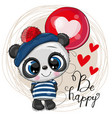 cute cartoon panda with balloon vector image vector image