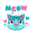 cute childish print with cat face and hearts vector image vector image