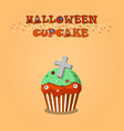 cute happy halloween mint cupcake with grave vector image vector image