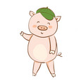 drawing a cartoon pig in a green summer cap vector image vector image