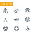 ecology icons line style set with biosphere sunny vector image