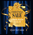 elegance christmas sale banner with gold gift on vector image