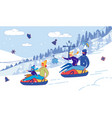 family with children sliding down hill on tubing vector image vector image