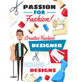 fashion designer dressmaker tailor profession vector image