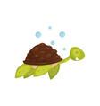 flat icon of swimming turtle marine animal vector image vector image