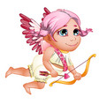 girl cupid in toga with pink wings and hair vector image