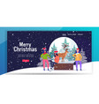 girls in santa claus hats near christmas magic vector image