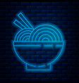 Glowing neon line asian noodles in bowl and