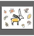 Greeting card with deer scarf and autumn vector image vector image