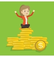 Happy business woman sitting on golden coins vector image vector image