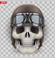 human skull with retro aviator or biker helmet vector image