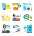 icons for home housework cleaning washing vector image vector image