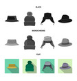 isolated object of headgear and cap logo set of vector image vector image