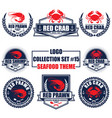 logo collection set with seafood restaurant theme vector image vector image