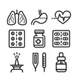 medicine outline icons vector image