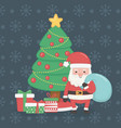 merry merry christmas card with santa claus and vector image