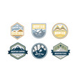 mountain peaks logo design set camping hiking vector image vector image