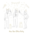 Office party line style vector image