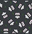 seamless pattern panda bear on black background vector image