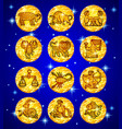 set gold foil circles with zodiac symbols on blue vector image
