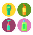 set icons cleaning products in plastic vector image