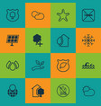 set of 16 ecology icons includes snow aqua vector image vector image