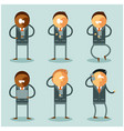 set of flat business men and their phones vector image
